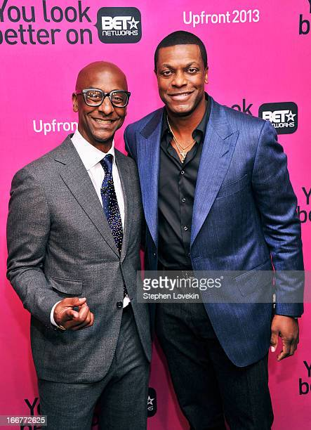 President of Music Programming and Specials for BET Networks Stephen G Hill and actor Chris Tucker attend the BET Networks 2013 New York Upfront on...