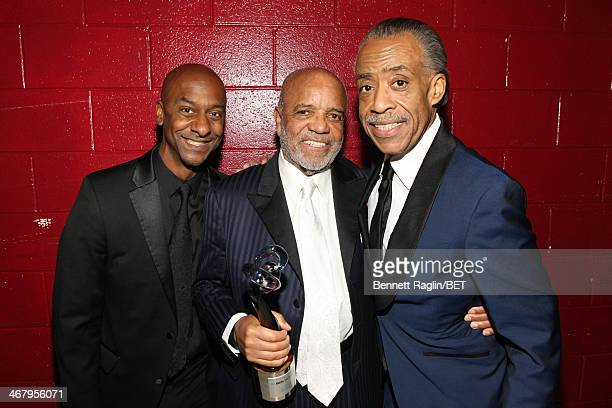 President of Music Programming and Specials of BET Networks Stephen G Hill record producer Berry Gordy and Reverend Al Sharpton pose backstage at BET...