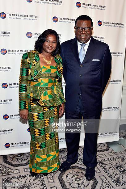 President of Namibia Hage Geingob and Monica Kalondo attend The AfricaAmerica Institute hosts Future Leaders Legacy Fund Awards gala on September 29...