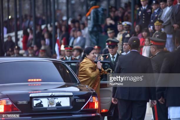 President of Nepal Bidhya Devi Bhandari arrives during Army Day celebration on Tuesday February 13 2018 in Tudikhel Ground Kathmandu Nepal