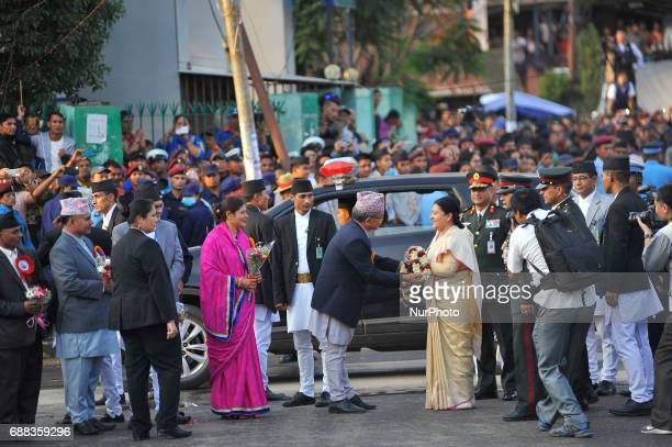 President of Nepal Bidhya Devi Bhandari attending on the celebration of Bhoto Jatra festival at Jawalakhel Patan Nepal on Thursday May 25 2017 Rato...