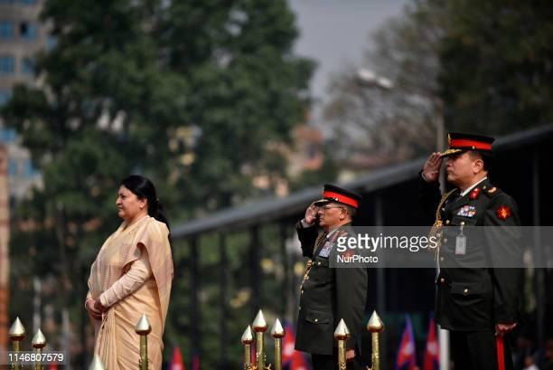 President of Nepal Bidhya Devi Bhandari Chief of the Army Purna Chandra Thapa officially inagurates 12th Republic Day at Tudikhel Kathmandu Nepal on...