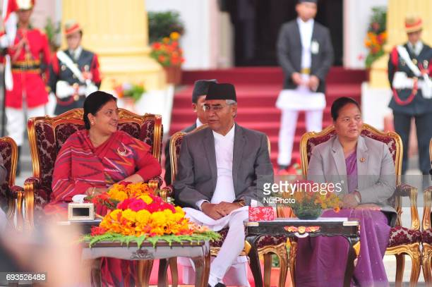 President of Nepal Bidhya Devi Bhandari Nepal's newly elected Prime Minister Sher Bahadur Deuba and Constituent Assembly chairperson Onsari Gharti...