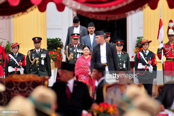 President of Nepal Bidya Devi Bhandari arrives to administer an oath of office and secrecy to newly elected Prime Minister Deputy Prime Ministers and...