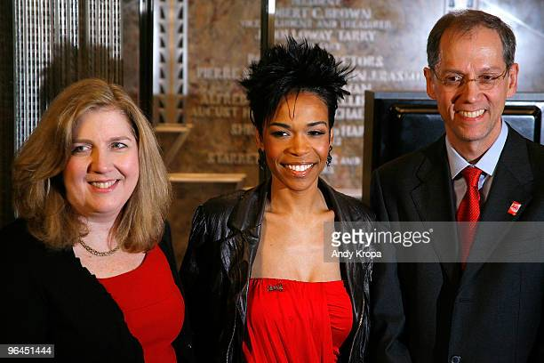 President of New York City American Heart Association Board of Directors Mary Ann McLaughlin singer Michelle Williams and New York City Health...