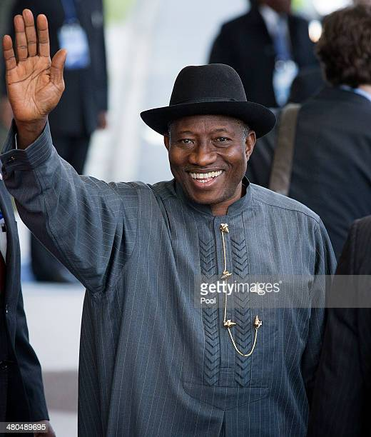President of Nigeria Goodluck Ebele Azikiwe Jonathan departs at the conclusion of the 2014 Nuclear Security Summit on March 25 2014 in The Hague...