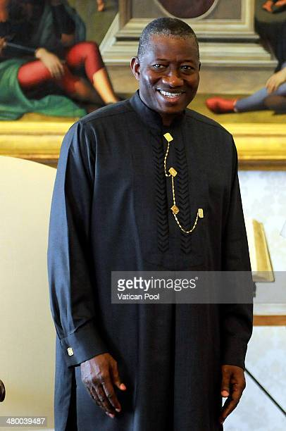 President of Nigeria Goodluck Jonathan meets Pope Francis at his private library in the Apostolic Palace on March 22 2014 in Vatican City Vatican The...