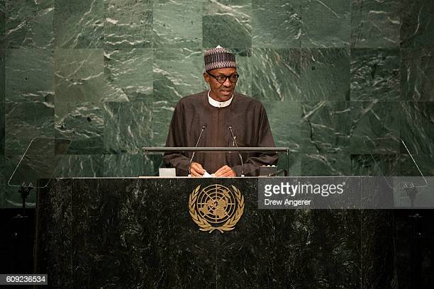 President of Nigeria Muhammadu Buhari addresses the United Nations General Assembly at UN headquarters September 20 2016 in New York City According...