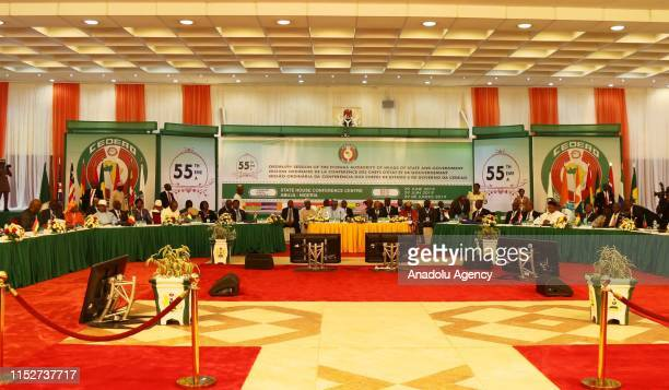 President of Nigeria Muhammadu Buhari delivers a speech during the 55th Ordinary Session of the Economic Community of West African States Authority...