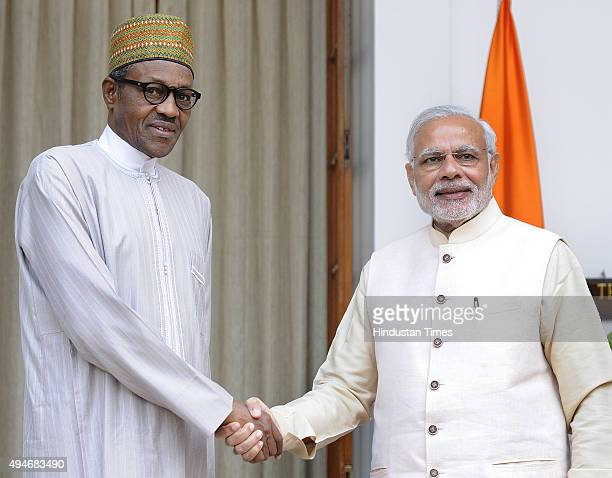 President of Nigeria Muhammadu Buhari meets with Prime Minister Narendra Modi before a bilateral meeting for the 3rd IndiaAfrica Forum Summit at...