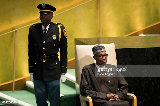 President of Nigeria Muhammadu Buhari waits to address the United Nations General Assembly at UN headquarters September 20 2016 in New York City...