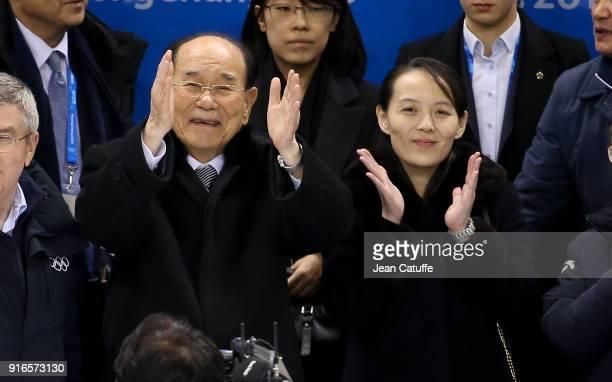President of North Korea Kim Yongnam and Kim Yojong sister of Kim Jongun attend the women's ice hockey preliminary match between Korea and...