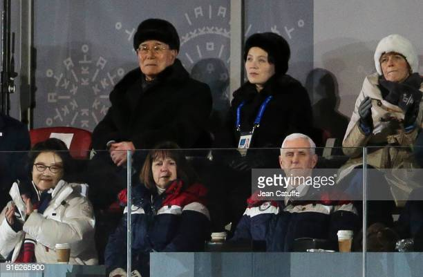 President of North Korea Kim Yongnam and Kim Yojong sister of President of North Korea Kim Jongun below Mike Pence VicePresident of USA and his wife...