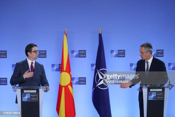 President of North Macedonia Stevo Pendarovski and NATO Secretary General Jens Stoltenberg give a joint news conference at the NATO headquarters in...