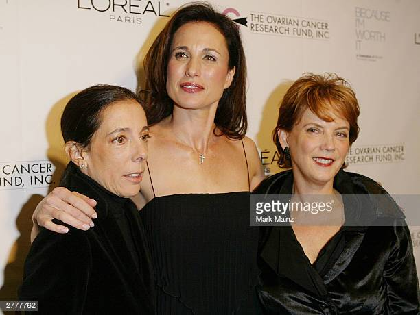 President of OCRF Faith Kates Kogan actress Andie MacDowell and L'Oreal's President and General Manager Carol J Hamilton attend the L'Oreal and...