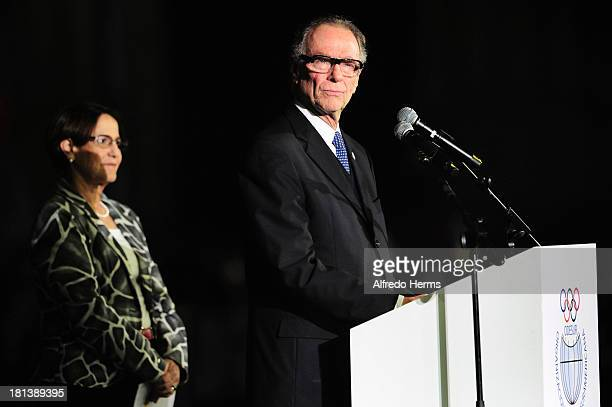 President of ODESUR Carlos Arthur Nuzman delivers a speech during the Opening Ceremony as part of the I ODESUR South American Youth Games at Plaza de...