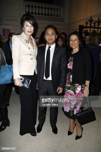 President Of Odiot Pia HofmannPiard and Prince and Princess Ravichack Norodom attend Dessiner L'Or et L'Argent Odiot Orfevre Exhibition Launch at...