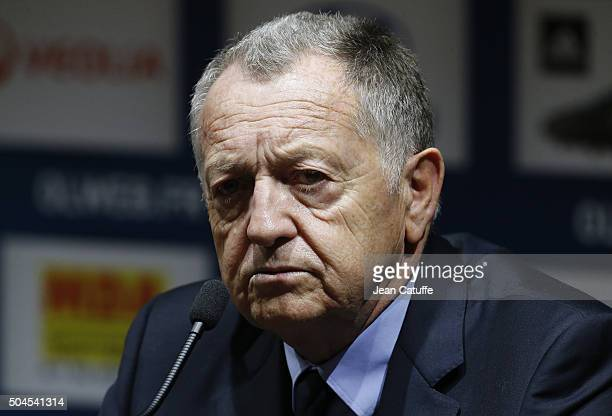 President of OL JeanMichel Aulas answers to the media during a press conference following the French Ligue 1 match between Olympique Lyonnais and...