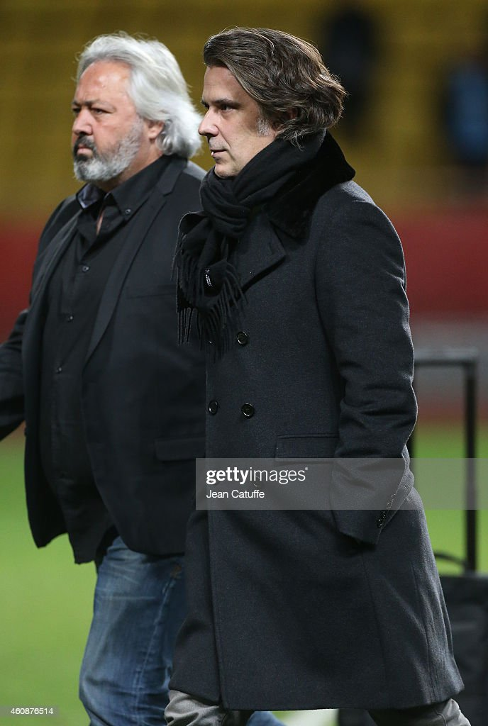 President of OM Vincent Labrune walks to the locker room at the end of the French Ligue 1 match between AS Monaco FC v Olympique de Marseille OM at Stade Louis II on December 14, 2014 in Monaco.