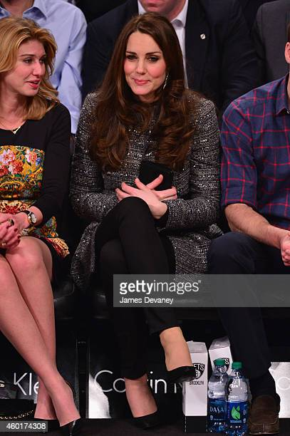 President of ONEXIM Sports and Entertainment Holding USA Irina Pavlova and Catherine Duchess of Cambridge attend the Cleveland Cavaliers vs Brooklyn...