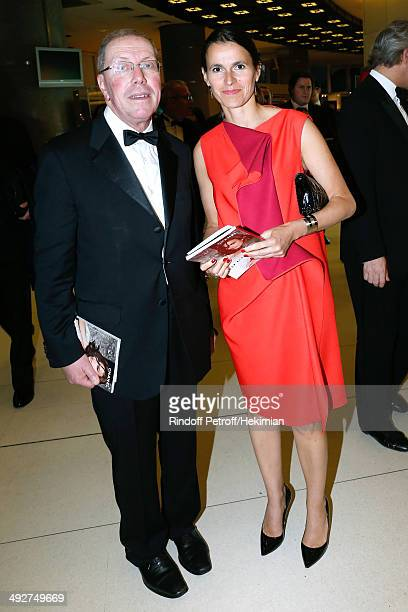 President of Opera de Paris Bernard Stirn and French Culture Minister Aurelie Filippetti attend the AROP Charity Gala Held at Opera Bastille on May...