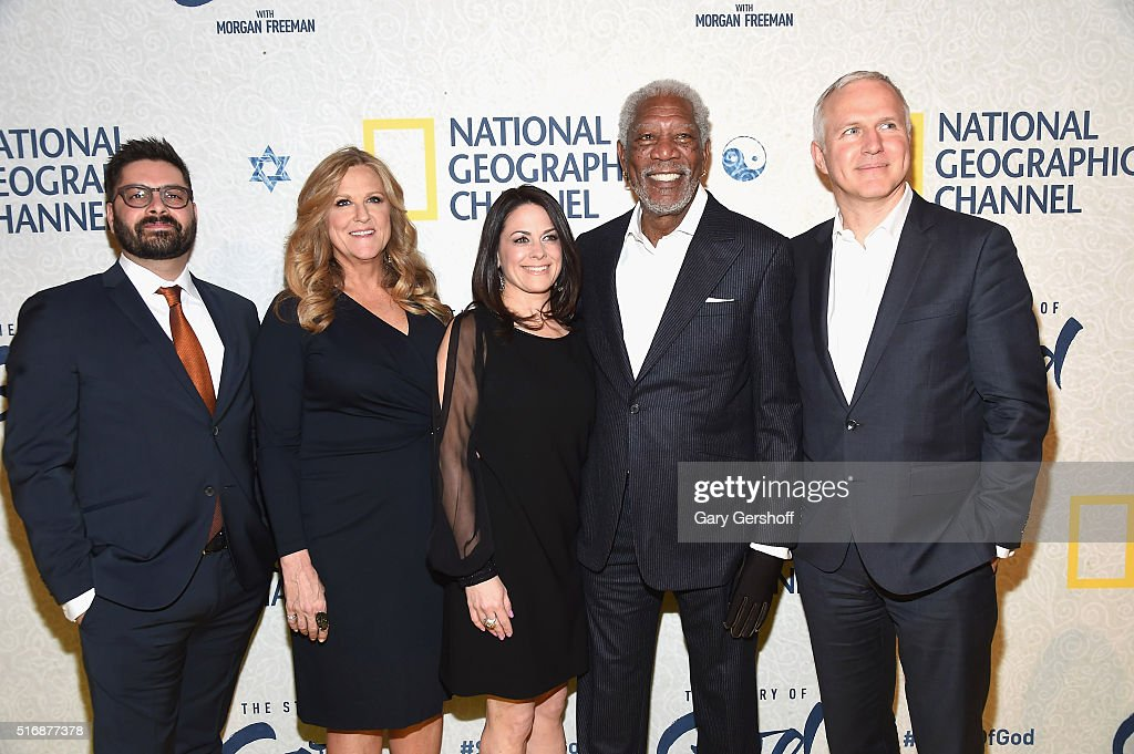 NGC President of Original Programming & Production, Jim Pastore, executive producer Lori McCreary, NGC Global Networks CEO Courtney Monroe, executive producer Morgan Freeman and executive producer James Younger attend the National Geographic 'The Story Of God' with Morgan Freeman world premiere at Jazz at Lincoln Center on March 21, 2016 in New York City.