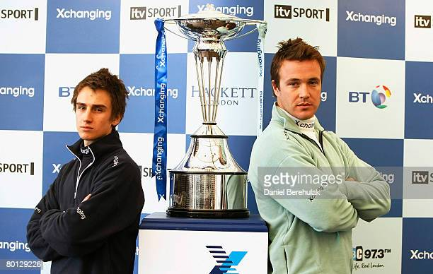 President of Oxford Rowing Team Nicholas Duncan Brodie poses for photographs with the boat race trophy and President of Cambridge Dan O'Shaughnessy...
