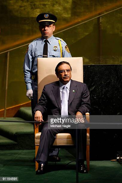 President of Pakistan Asif Ali Zardari waits to address the United Nations General Assembly at the UN headquarters on September 25, 2009 in New York...