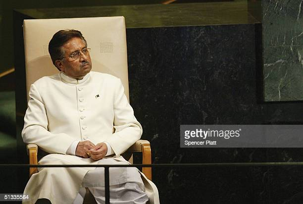 President of Pakistan General Pervez Musharraf prepares to address the United Nations General Assembly September 22 2004 in New York City Dignitaries...