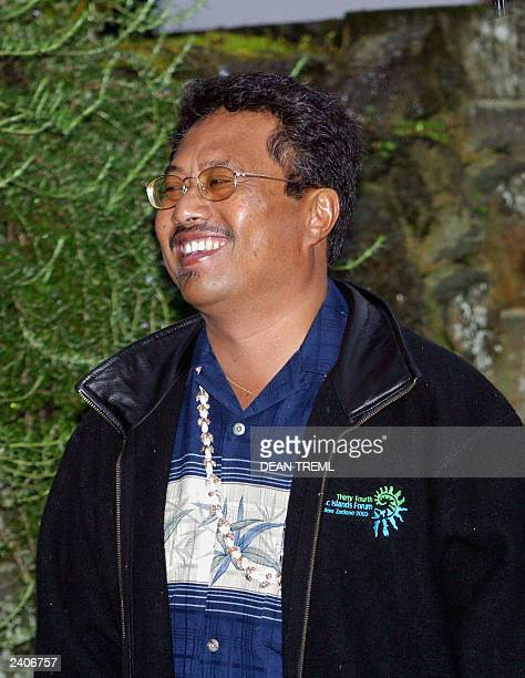 President of Palau Tommy Remengesau Jr arrives at Government House in Auckland 15 August 2003 for the leaders retreat during the 34th Pacific Forum...