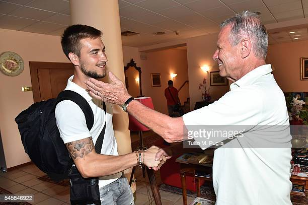 President of Palermo Maurizio Zamparini greets Josip Posavec as he arrives at US Citta' di Palermo training camp base on July 10, 2016 in Gradisca...