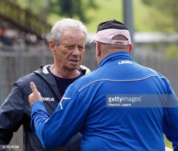 President of Palermo Maurizio Zamparini speaks with Bruno Tedino during pre-season training camp on July 14, 2017 in Bad Kleinkirchheim, Austria.