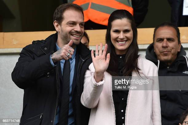President of Palermo Paul Baccaglini and Thais Souza Wiggers look on in VIP standing during the Serie A match between US Citta di Palermo and...