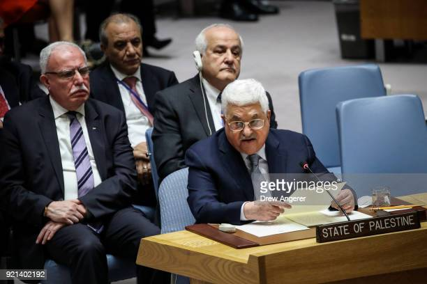 President of Palestine and Palestinian National Authority Mahmoud Abbas speaks during a United Nations Security Council concerning meeting concerning...