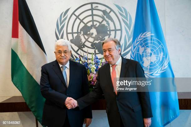 President of Palestine and Palestinian National Authority Mahmoud Abbas shakes hands with SecretaryGeneral of the United Nations Antonio Guterres...