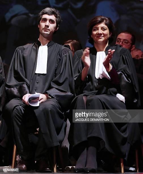 President of Paris' bar Christiane FeralSchuhl applauds a speech next to Quentin Lancian first secretary of the bar during Paris' bar opening...