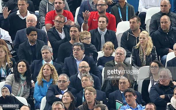 President of Paris Saint Germain Nasser Al Khelaifi Zlatan Ibrahimovic with his sons Maximilian Ibrahimovic and Vincent Ibrahimovic and his wife...