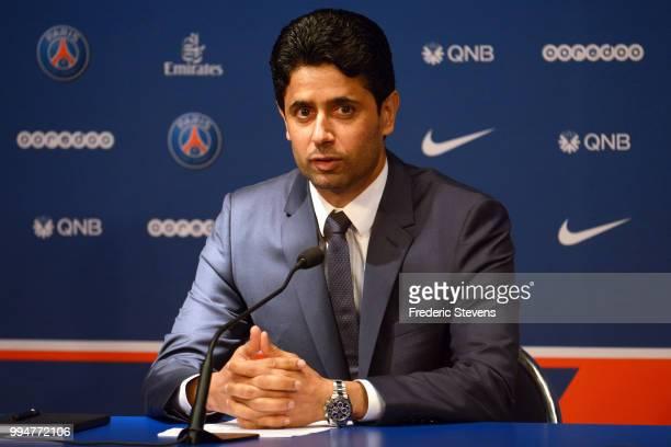 President of Paris Saint Germain Nasser AlKhelaifi during the Italian Gianluiggi Buffon official presentation after signing for PSG at Parc des...