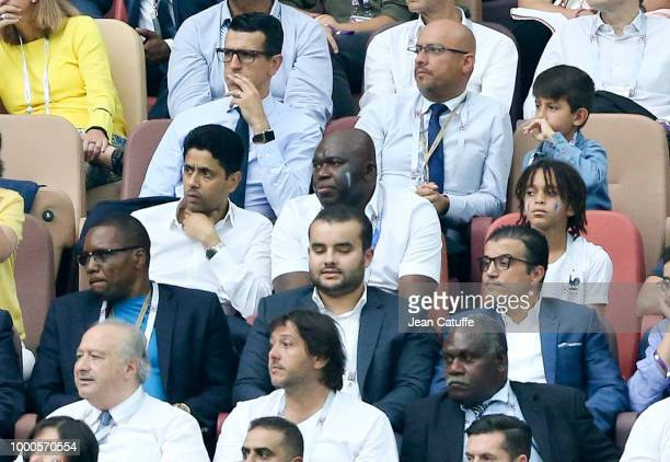 President of Paris Saint Germain Nasser AlKhelaifi Wilfried Mbappe father of Kylian Mbappe of France Kylian's younger brother Ethan Mbappe attend the...