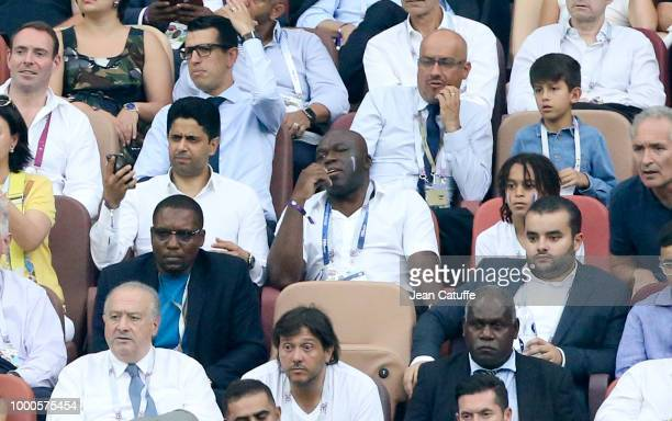 President of Paris Saint Germain Nasser AlKhelaifi Wilfried Mbappe father of Kylian Mbappe of France Kylian's younger brother Ethan Mbappe Christian...