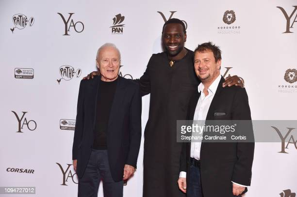 President of Pathe Jerome Seydoux actor of the movie Omar Sy and director of the movie Philippe Godeau attend 'Yao' Paris Premiere at Le Grand Rex on...