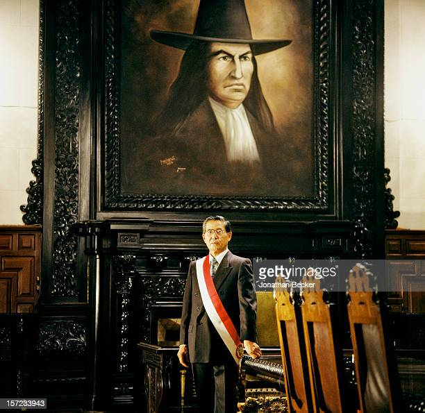 President of Peru Alberto Fujimori is photographed for Vanity Fair Magazine on May 8 1997 at the Government Palace in Lima Peru PUBLISHED IN JONATHAN...