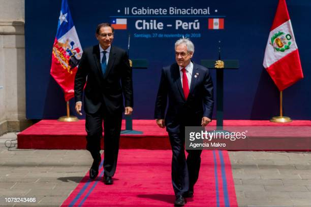President of Peru Martín Vizcarra and President of Chile Sebastián Piñera walk after the II Binational Cabinet ChilePeru at the Palacio de La Moneda...