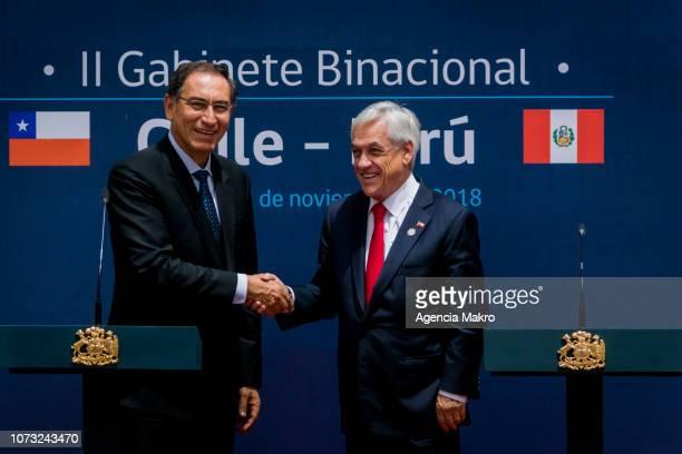 President of Peru Martín Vizcarra and President of Chile Sebastián Piñera shake hands after the II Binational Cabinet ChilePeru at the Palacio de La...