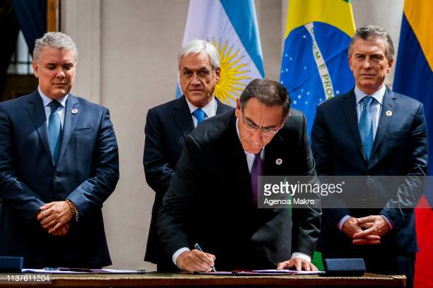 President of Peru Martín Vizcarra signs the agreement of Santiago after the Meeting of Presidents of South America also called ProSur on March 22...