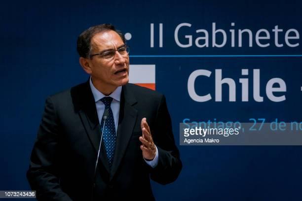 President of Peru Martín Vizcarra speaks after the II Binational Cabinet ChilePeru at the Palacio de La Moneda on November 27 2018 in Santiago Chile