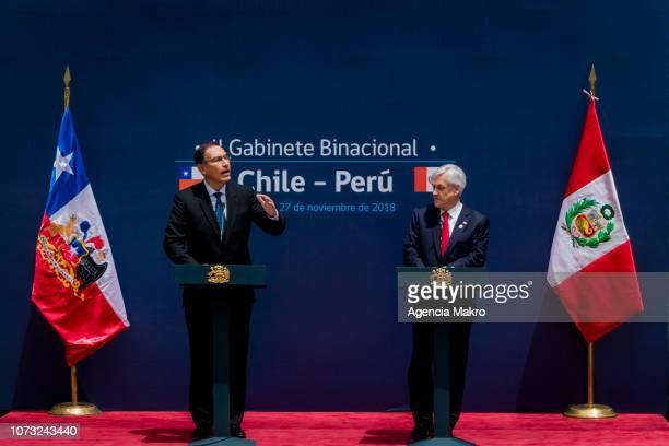 President of Peru Martín Vizcarra speaks next to the President of Chile Sebastián Piñera after the II Binational Cabinet ChilePeru at the Palacio de...