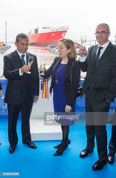 President of Peru Ollanta Humala Spanish minister of public works and transport Ana Pastor and Spanish government delegate in Galician region...