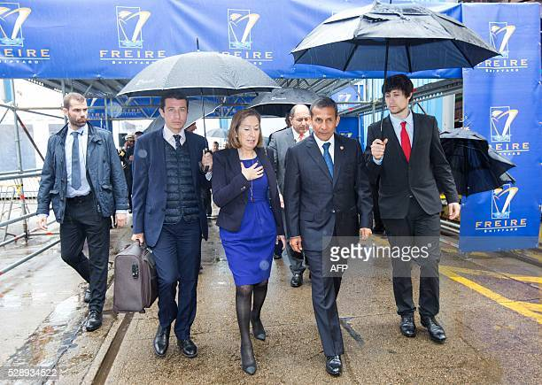 President of Peru Ollanta Humala walks with Spanish minister of public works and transport Ana Pastor as they arrive to attend the oceanographic ship...