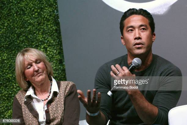 President of peta Ingrid Newkirk and activist Marc Ching speak on stage at Circle V Festival on November 18 2017 in Los Angeles California